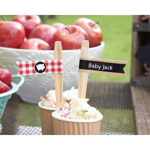 Personalized Party Straw Flags: BBQ