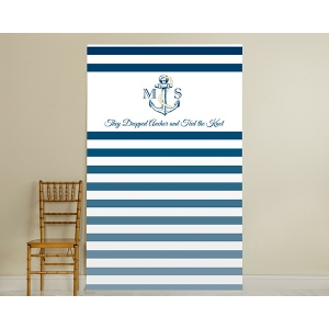 Personalized Photo Booth Backdrop, Kate's Nautical Wedding Collection: Royal Blue Stripe
