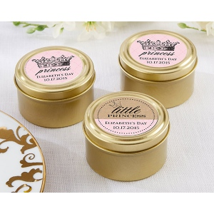 Personalized Gold Round Candy Tin, Little Princess: Set of 12