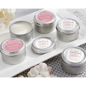 Personalized Travel Candle, Kate's Rustic Baby Shower Collection