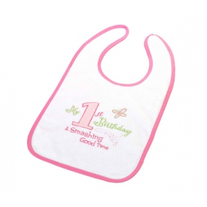 Lillian Rose First Birthday Bib: Pink