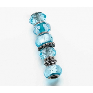 Lillian Rose Assorted Beads: Aqua, Set of 7