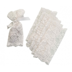 Lillian Rose Set of 6 Lace Favor Bags Ivory
