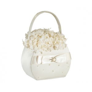 Lillian Rose Scattered Pearl Flower Basket - Ivory