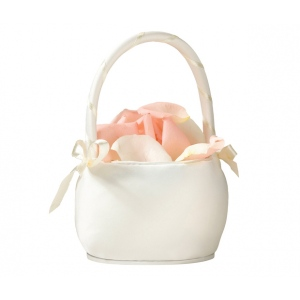 Lillian Rose Plain Satin Round Basket  -Ivory