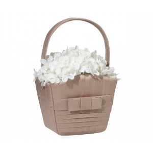 Lillian Rose Taupe Pleated Silk Basket