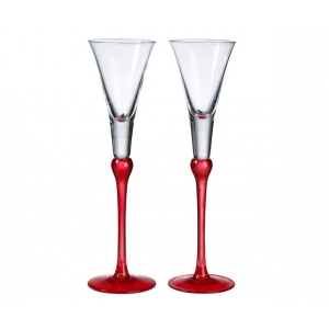Lillian Rose Set of Tall Flutes - Red