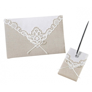 Lillian Rose Country Lace Guestbook & Pen Set