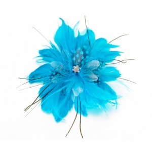 Lillian Rose Feather Hair Clip - Aqua