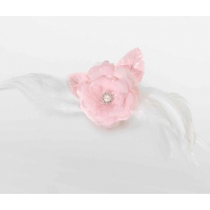 Lillian Rose Lace and Feather Hair Clip/Pin - Pink