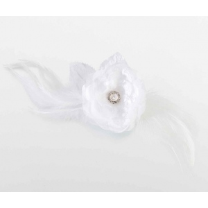 Lillian Rose Lace and Feather Hair Clip/Pin - White