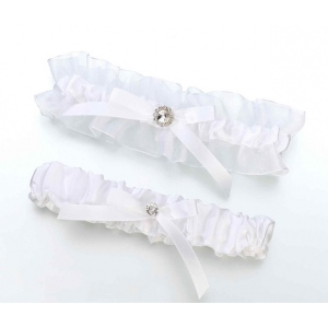 Lillian Rose Satin Rhinestone Garter Set - White