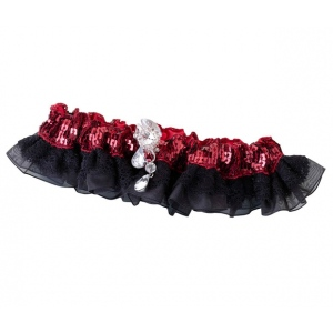 Lillian Rose Sequin & Satin Garter - Red
