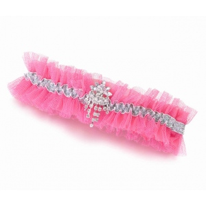 Lillian Rose Rhinestone Tulle Garter - Hot Pink