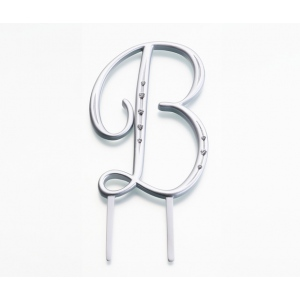 Lillian Rose Silver Rhinestone Monogram - Large B