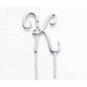 Lillian Rose Silver Rhinestone Monogram - Small K