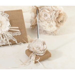 Lillian Rose Burlap & Lace Pen Set