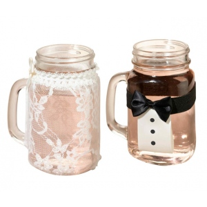 Lillian Rose Bride and Groom Drink Glass Covers