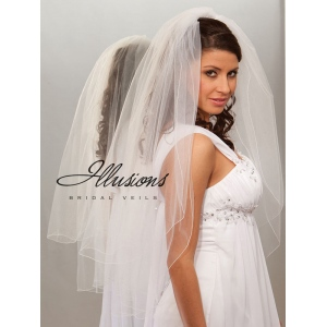 Illusions Bridal Corded Edge Veil S7-362-C: Pearl Accent