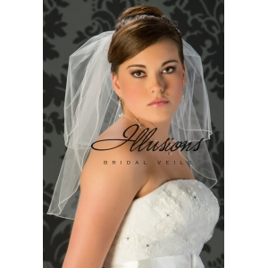 Illusions Bridal Corded Edge Veil S5-202-C: 2 Layer Diamond White, Pearl Accent