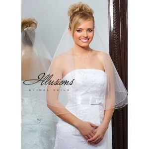 Illusions Bridal Corded Edge Veil FC7-302-C: Rhinestone Accent