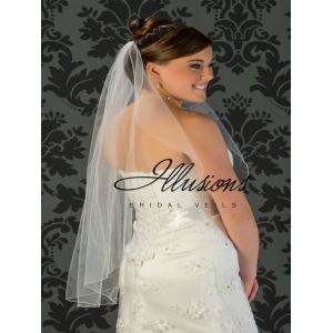 Illusions Bridal Corded Edge Veil C7-361-C: 2 Layer Fingertip, Pearl Accent