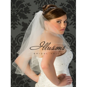 Illusions Bridal Corded Edge Veil C7-252-C: 2 Layer Elbow Length, Rhinestone Accent