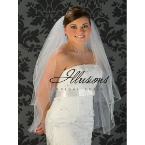 Illusions Bridal Corded Edge Veil S1-362-C: Fingertip Length, Diamond White, Pearl Accent