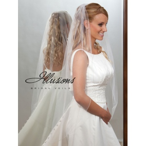 Illusions Bridal Corded Edge Veil 7-451-C: White Knee Length, Pearl Accent