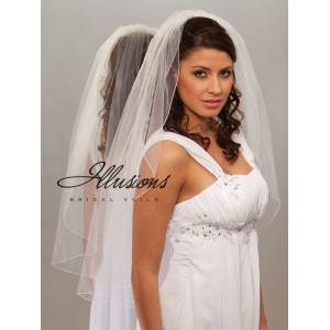 Illusions Bridal Corded Edge Veil 7-361-C: Rhinestone Accent