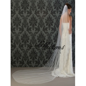 Illusions Bridal Corded Edge Veil 7-1201-C: Rhinestone Accent
