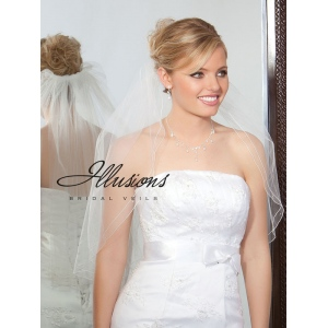 Illusions Bridal Corded Edge Veil 1-251-DC-BB: Pearl Accent