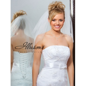 Illusions Bridal Cut Edge Veil S7-252-CT: Rhinestone Accent