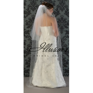 Illusions Bridal Cut Edge Veil S5-722-CT: 2 Layer Floor Length, Rhinestone Accent