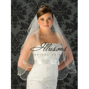 Illusions Bridal Beaded and Specialty Veils with Rhinestones and Bugle Beads V-794