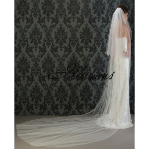 Illusions Bridal Cut Edge Veil S1-1442-CT: Rhinestone Accent
