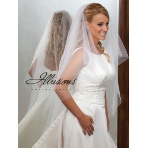 Illusions Bridal Cut Edge Veil C7-452-CT: Pearl Accent
