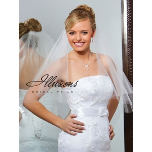 Illusions Bridal Cut Edge Veil C7-302-CT: Rhinestone Accent