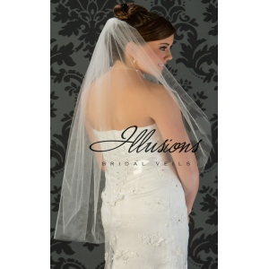 Illusions Bridal Cut Edge Veil 7-361-CT: Rhinestone Accent