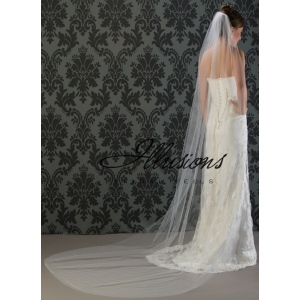 Illusions Bridal Cut Edge Veil 7-1081-CT: Pearl Accent