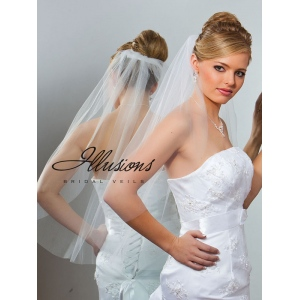 Illusions Bridal Cut Edge Veil 5-301-CT: Pearl Accent