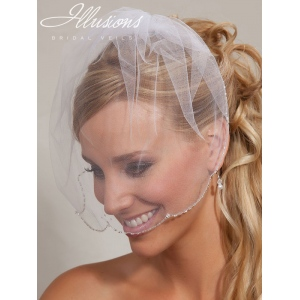 Illusions Bridal Visor Veils VS-7038: Beaded Edge