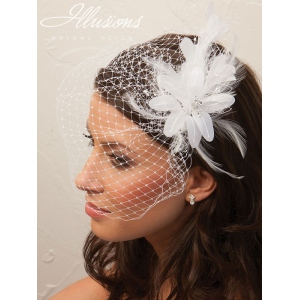Illusions Bridal Visor Veils with Flower Accessory VS-7017
