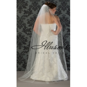 Illusions Bridal Cut Edge Wedding Veil 1-721-CT: Floor Length