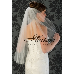 Illusions Bridal Cut Edge Wedding Veil 1-301-CT: Waist Length