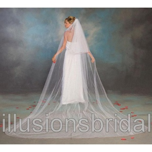 Illusions Bridal Colored Veils and Edges S1-1442-C-RD: Pearl Accent