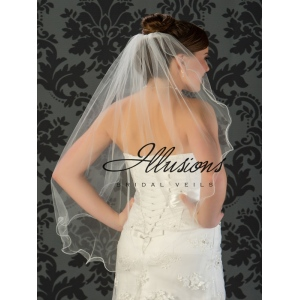 Illusions Bridal Filament Edge Veil 7-361-F: Rhinestone Accent
