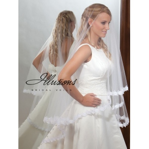 Illusions Bridal Lace Edge Veil D7-452-5L: Rhinestone Accent