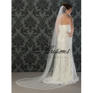 Illusions Bridal Lace Edge Wedding Veil C7-901-6L: Long Lace