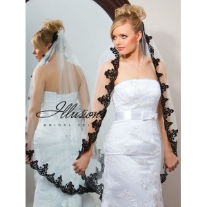 Illusions Bridal Lace Edge Veil 7-451-3L: Rhinestone Accent